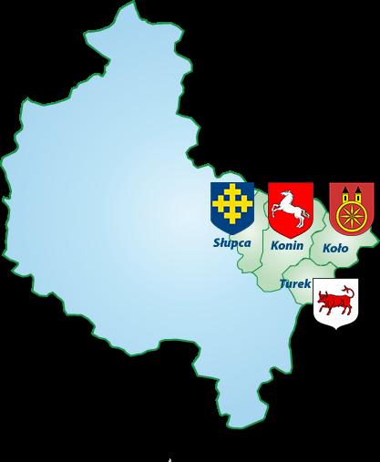 Obszar działania Okręgowej Izby Pielęgniarek i Połoznych w Koninie